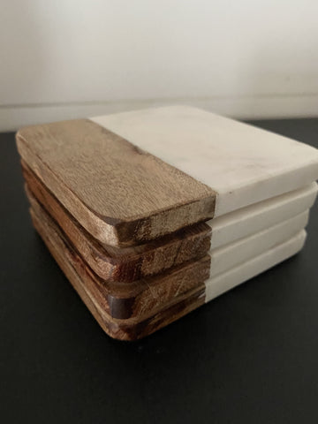 Marble + Wood Coaster Set - Engraved
