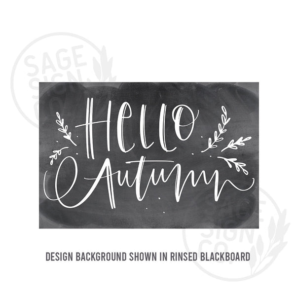 Printed Chalkboard Hello Autumn with Sprigs - SageSignCo