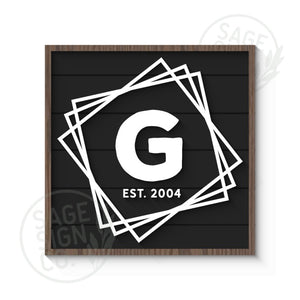 Personalized Offset Squares Name Monogram