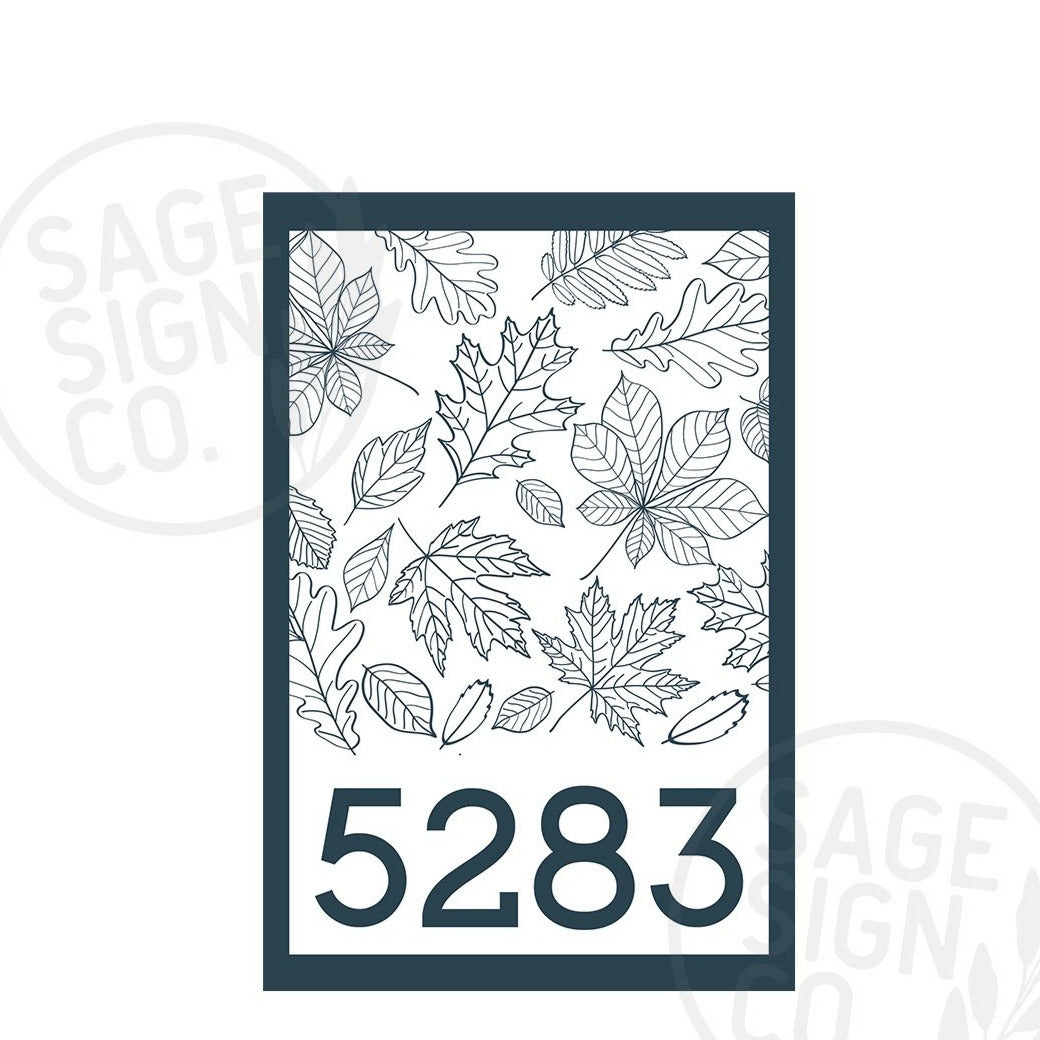Personalized Printed Address Sign With Leaf Detail - SageSignCo