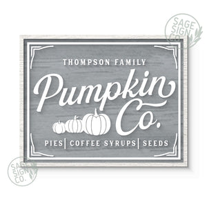 "31""x24"" Personalized Pumpkin Co. Grey W/ White"