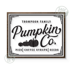 "31""x24"" Personalized Pumpkin Co. White W/ Black"