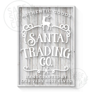 Lasercut Santa Trading Co. Sign - White + Natural