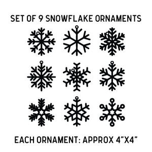 Set of Nine Snowflake Ornaments