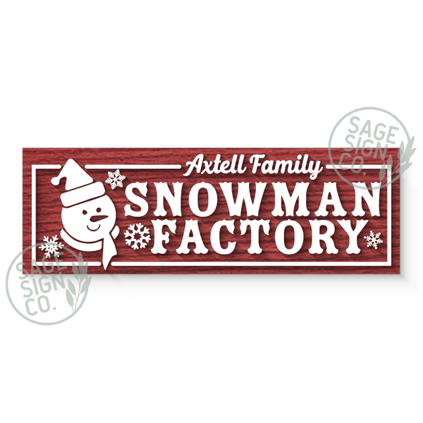 Lasercut Personalized Snowman Factory Sign Plank (add on for frame) - SageSignCo