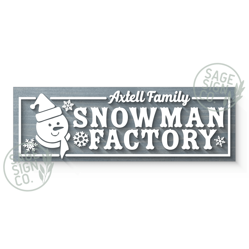 Lasercut Personalized Snowman Factory Sign Plank (add on for frame)