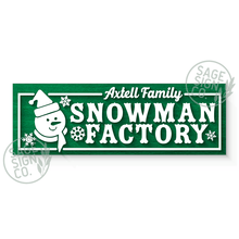 Load image into Gallery viewer, Lasercut Personalized Snowman Factory Sign Plank (add on for frame)