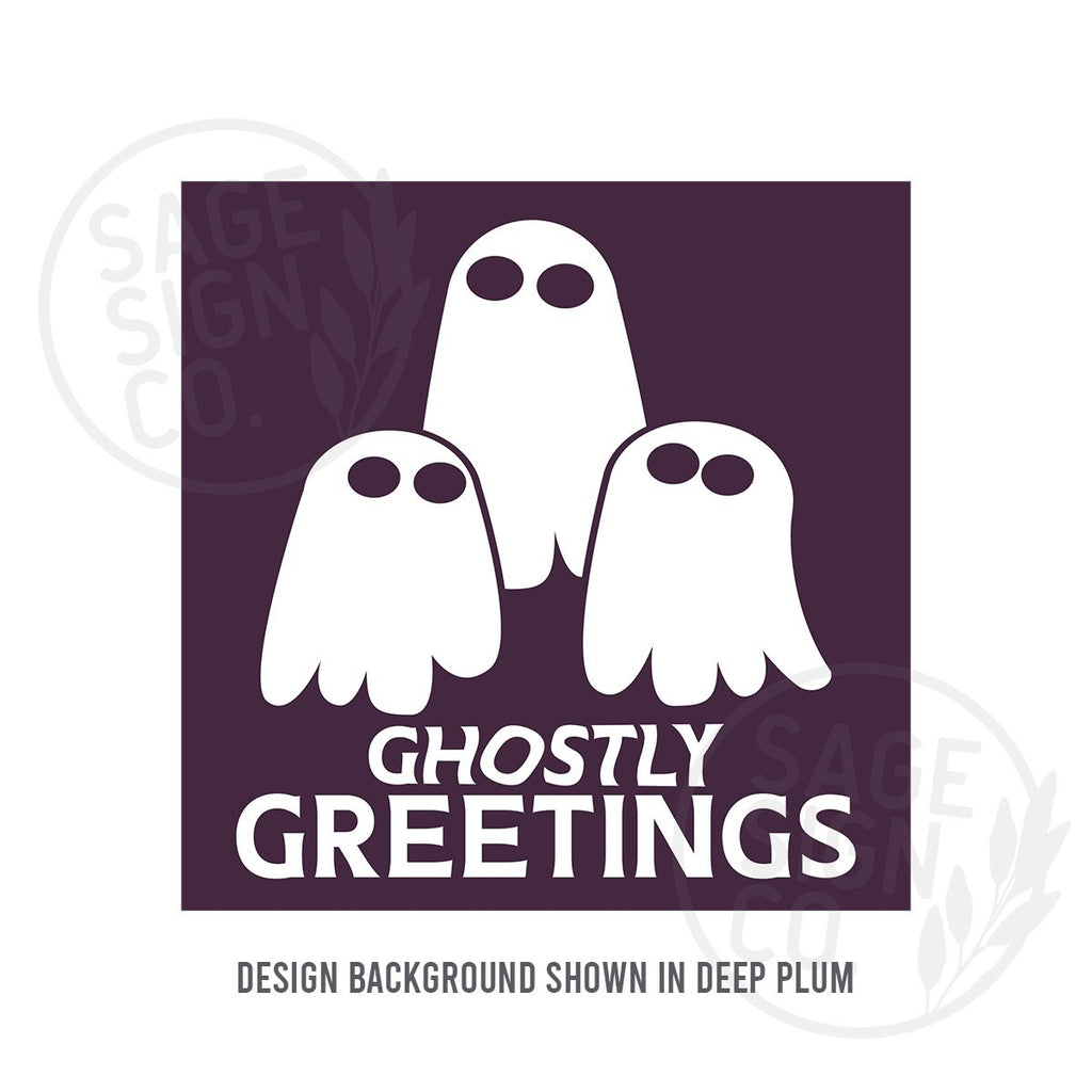 Printed Square Ghostly Greetings - SageSignCo