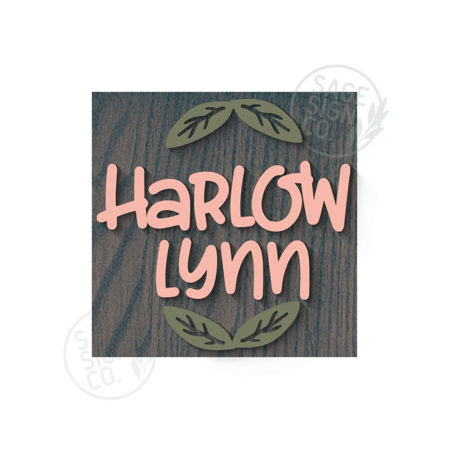 Square Nursery Sign with Icon(s) - Two Names