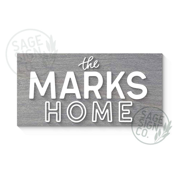 VIP Last Name Home Sign - Urban Modern Style - SageSignCo