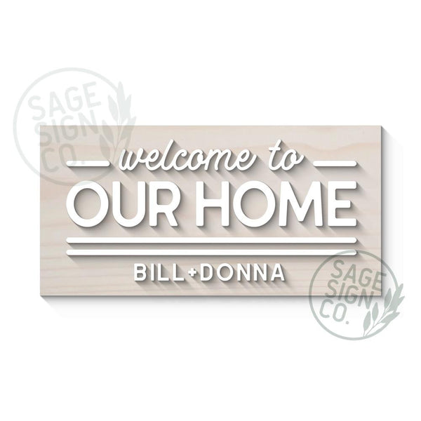Welcome to Our Home with First Names Sign - Urban Modern Style - SageSignCo