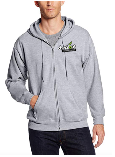 Custom Hanes Men's Full-Zip Grey Fleece Hoodie