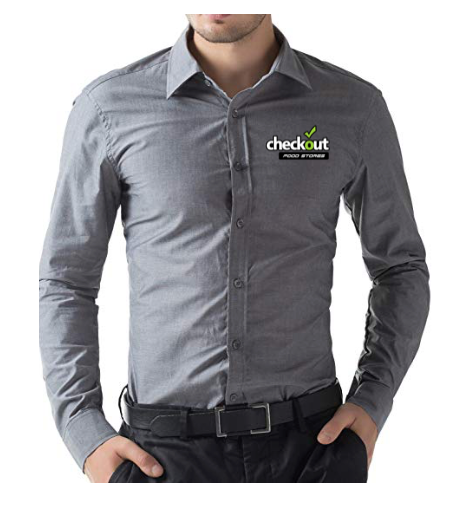 Custom Paul Jones Men's Business Casual Long Sleeves Grey Dress Shirt