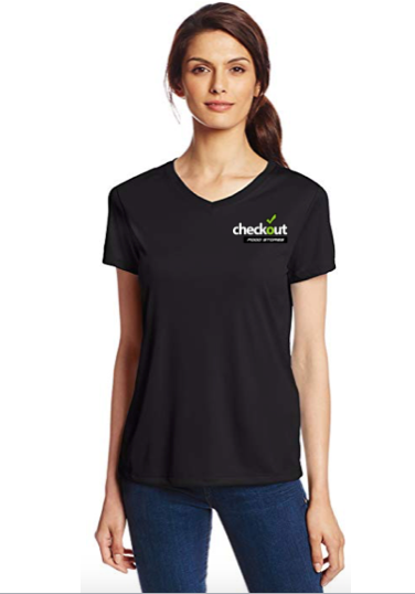 Custom Hanes womens V-neck Black Tee