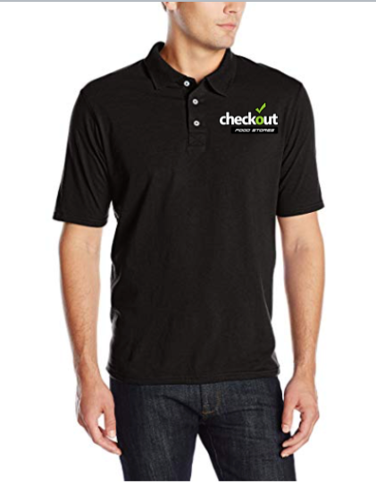 Custom Hanes Men's X-Temp Performance Black Polo Shirt