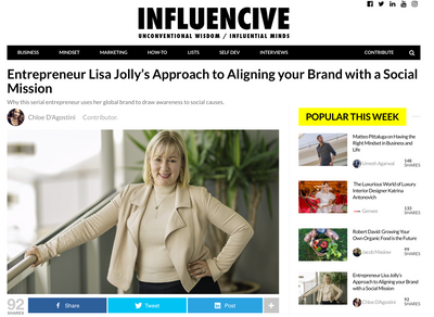As BEEn on Influencive.com ! ` Entrepreneur Lisa Jolly's Approach to Aligning your Brand with a Social Mission