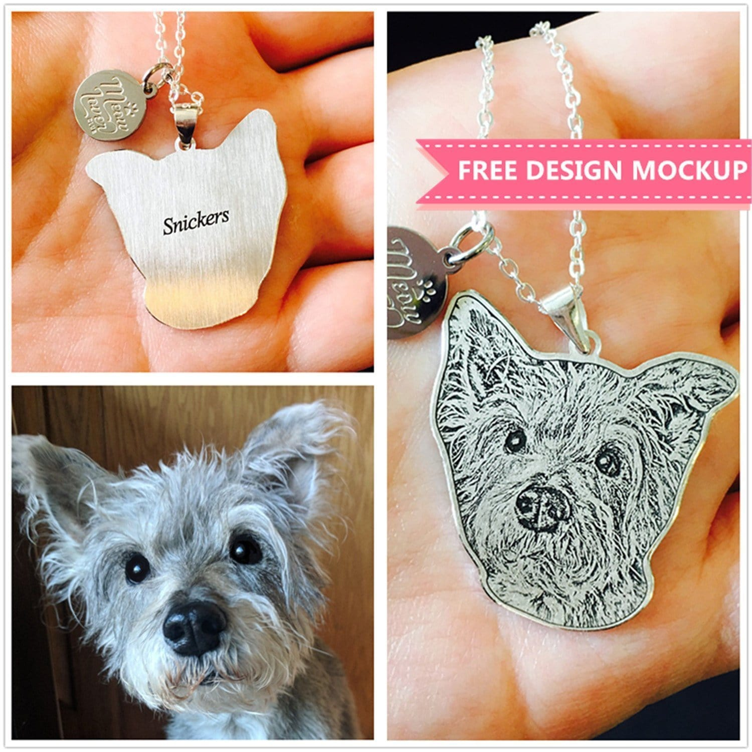 Engraved Photo Necklace With Your Beloved Pet