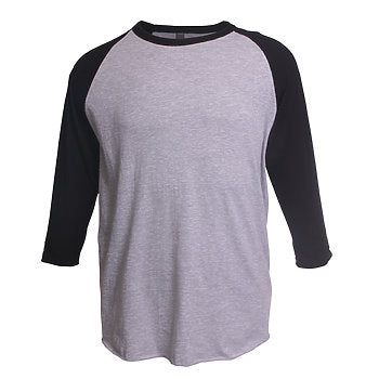 HEATHER GREY AND BLACK RAGLAN