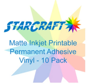 photograph about Inkjet Printable Vinyl known as STARCRAFT INKJET ADHESIVE PRINTABLE VINYL10 PACK