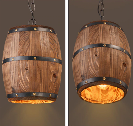 wood barrel lighting