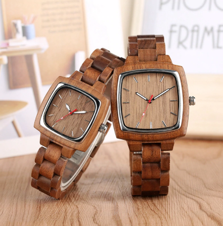 His n Her walnut watches