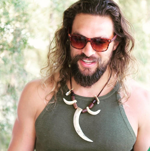 Jason Mamoa wearing wood necklace