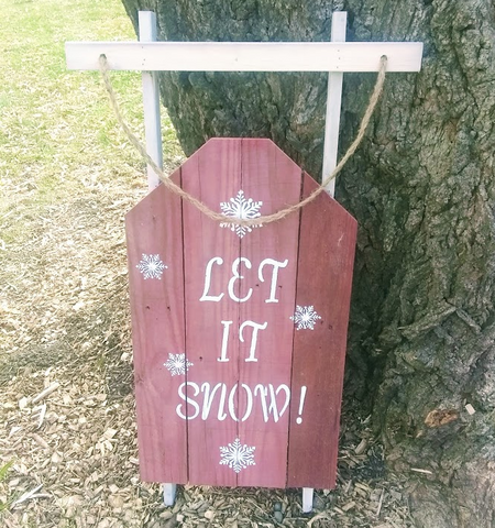 Let It Snow Pallet wood sled sign