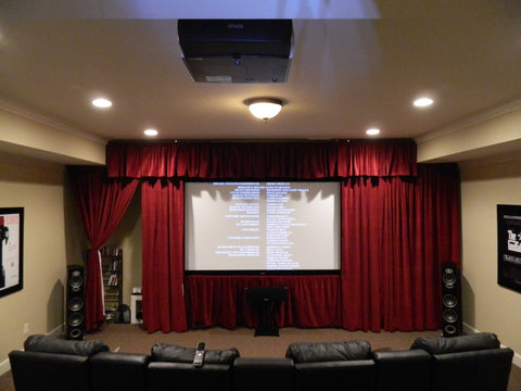 end of basement converted to theater room
