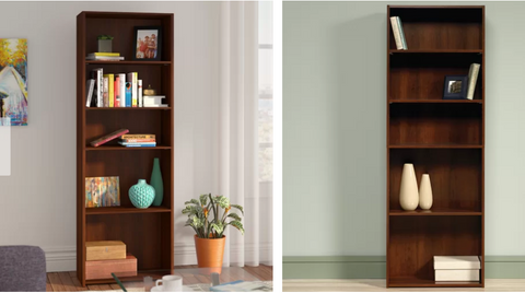 warm wood bookshelves