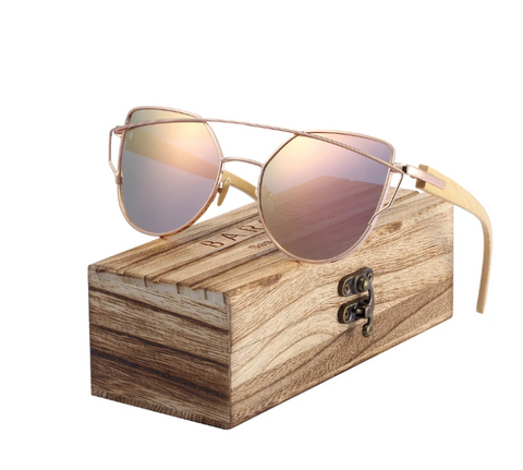 wood temple sunglasses-with case