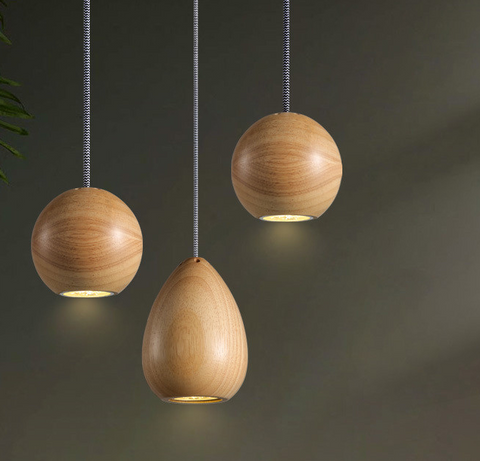 wood case pendant light