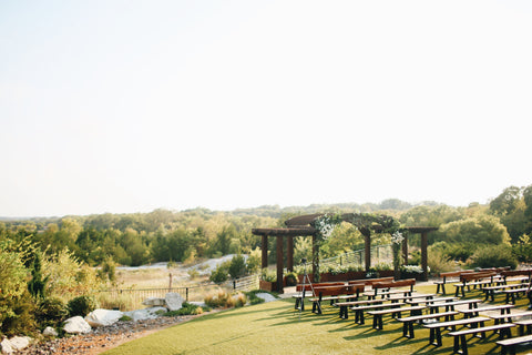 wood benches-seating for outdoor wedding