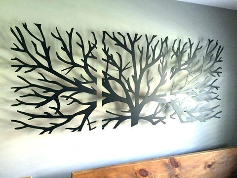 metal art for above bed in guest room