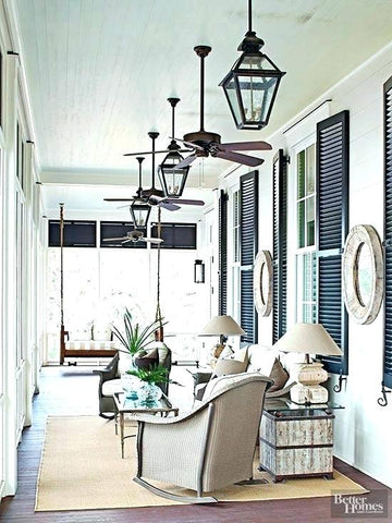 hanging lights and fans on front porch refresh