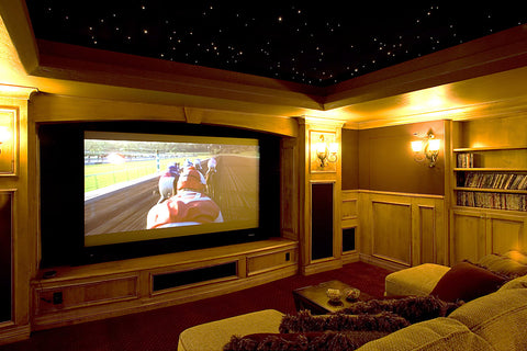 screen and projector in theater room