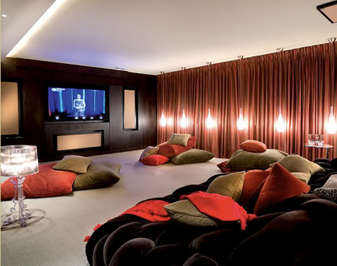large lounging theater room for teens