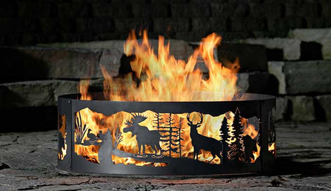 metal firepit with decoration