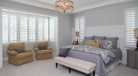 plantation shutters in guest room