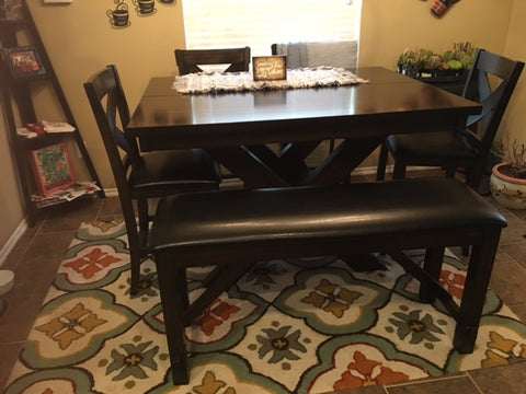 pub table with bench and rug-kitchen