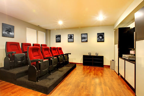 re-purposed stadium seating for theater room