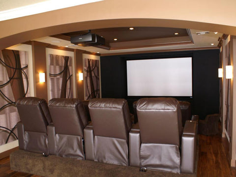 theater room with projector and screen