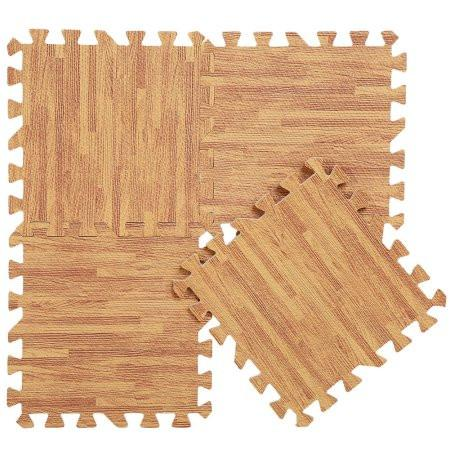 wood grain cushioned floor tile