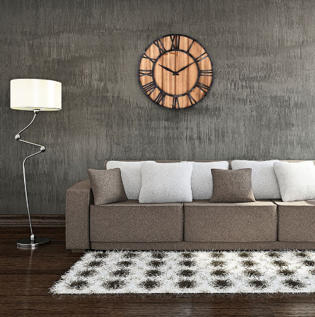 wrought iron and wood wall clock
