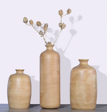 3 wood vases for dried flowers
