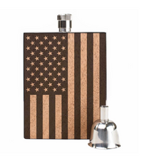 American flag wooden flask