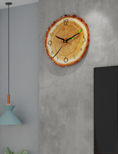 bark lined clock hanging on wall