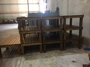 benches can be stacked in storage between uses