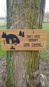 Camping Therapy pallet wood sign hanging on tree