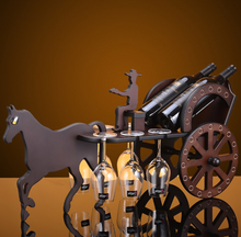 horse and carriage wine and glass holder