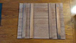 pallet wood art backside view --hooks for hanging